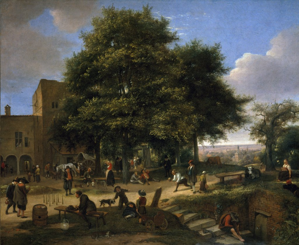Country Inn with skittle players, onlookers and travelers, by Jan Havicksz, (1625-1679) England, London, Christie's Images : Stock Photo