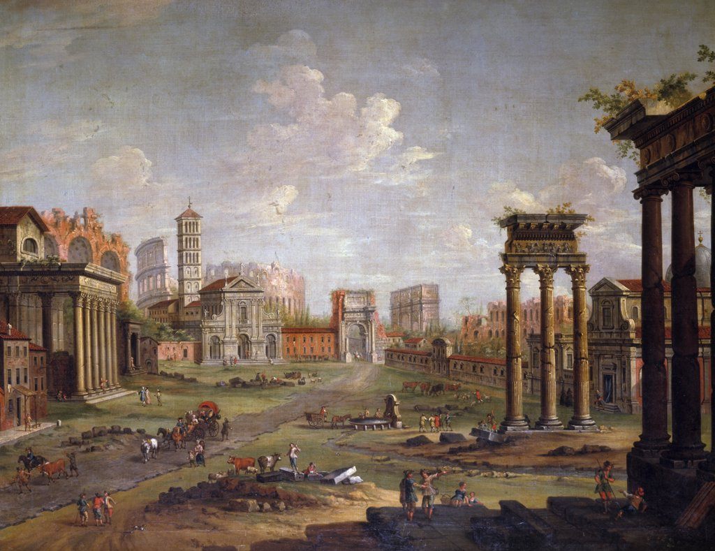 Italy, Rome, The Campo Vaccino, by Antonio Joli, oil on canvas, (1700-1777), England, London, Christie's Images : Stock Photo