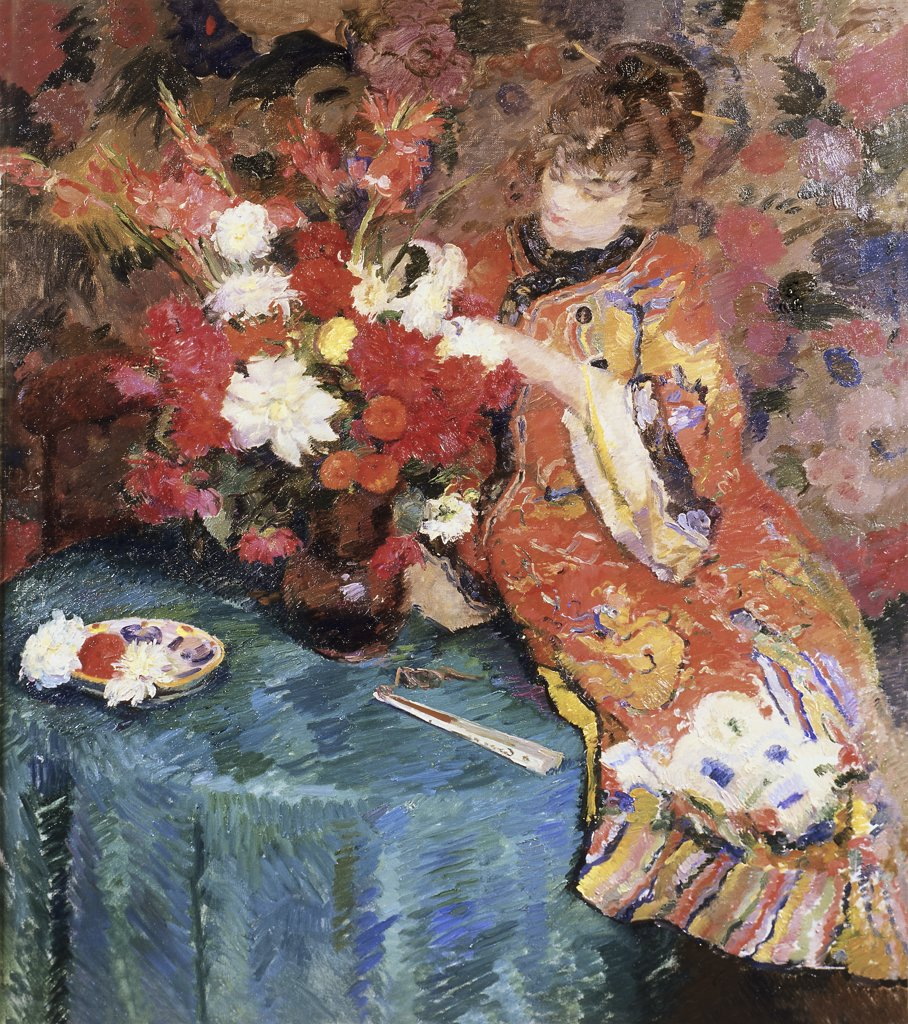 Stock Photo: 866-3733 Le Kimono Ernst Jean Joseph Godfrinon (1878-1927) Oil on canvas Christie's Images, London, England
