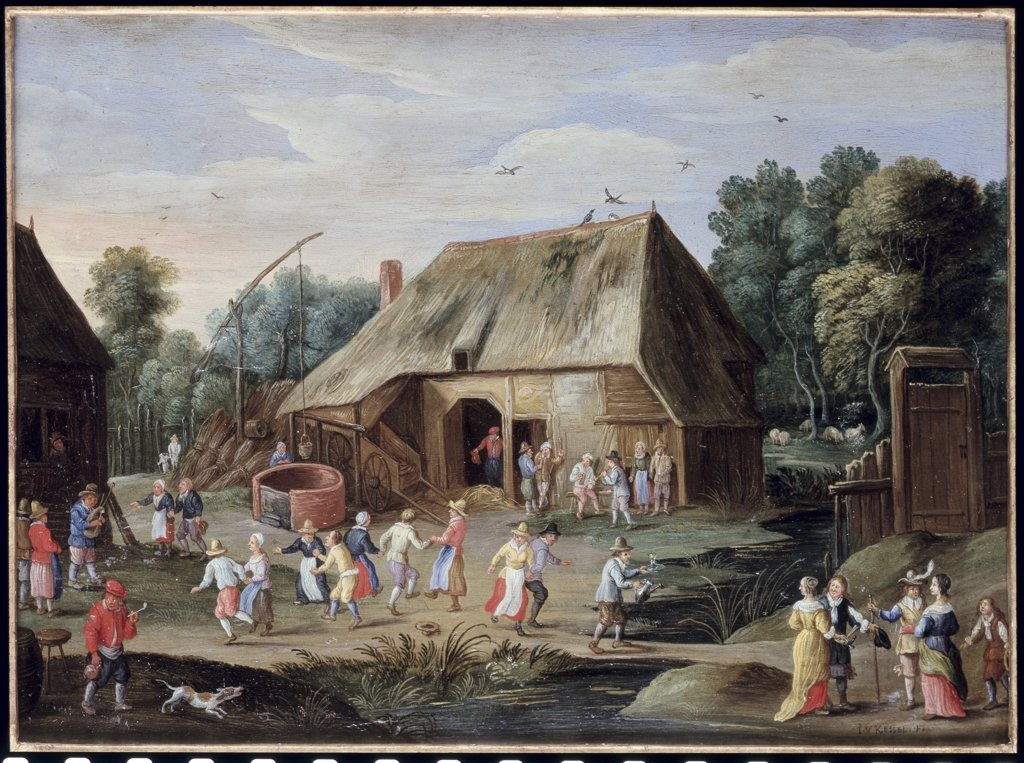 Stock Photo: 866-3737 Gentry At A Peasant Dance In A Farmyard 