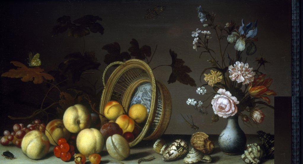 Stock Photo: 866-3740 Fruit and Flowers with Shells and Insects on a Ledge 