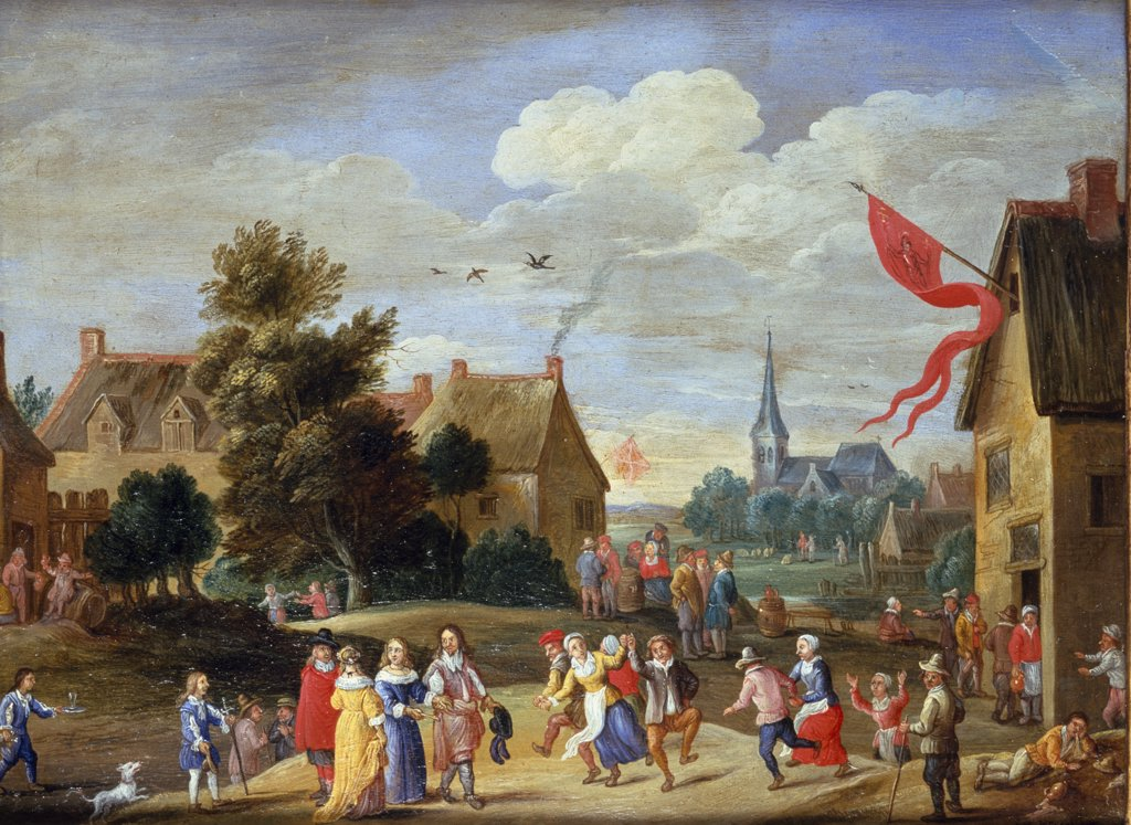 Stock Photo: 866-3747 Peasants feasting in village with Gentry merrymaking, by Jan van Kessel, oil on canvas, (1612-1679), England, London, Christie's Images