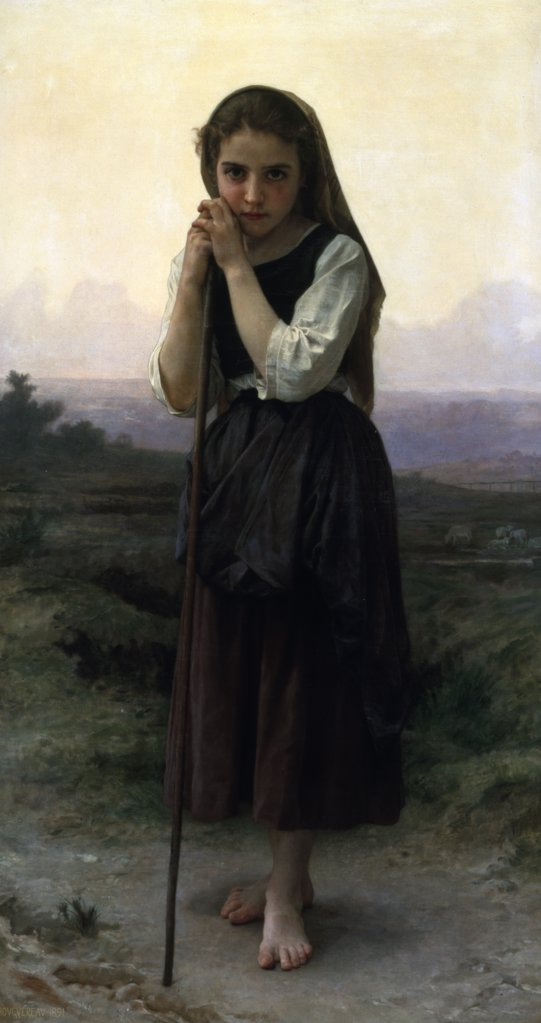 Stock Photo: 866-3783 The Little Shepherdess, by William-Adolphe Bouguereau, (1825-1905), England, London, Christie's Images