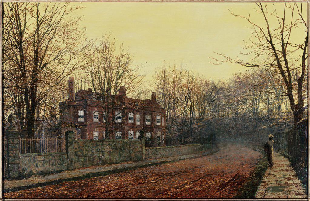 Stock Photo: 866-3818 The Waning Glory Of The Year John Atkinson Grimshaw (1836-1893 British) Painting Christie's Images, London, England