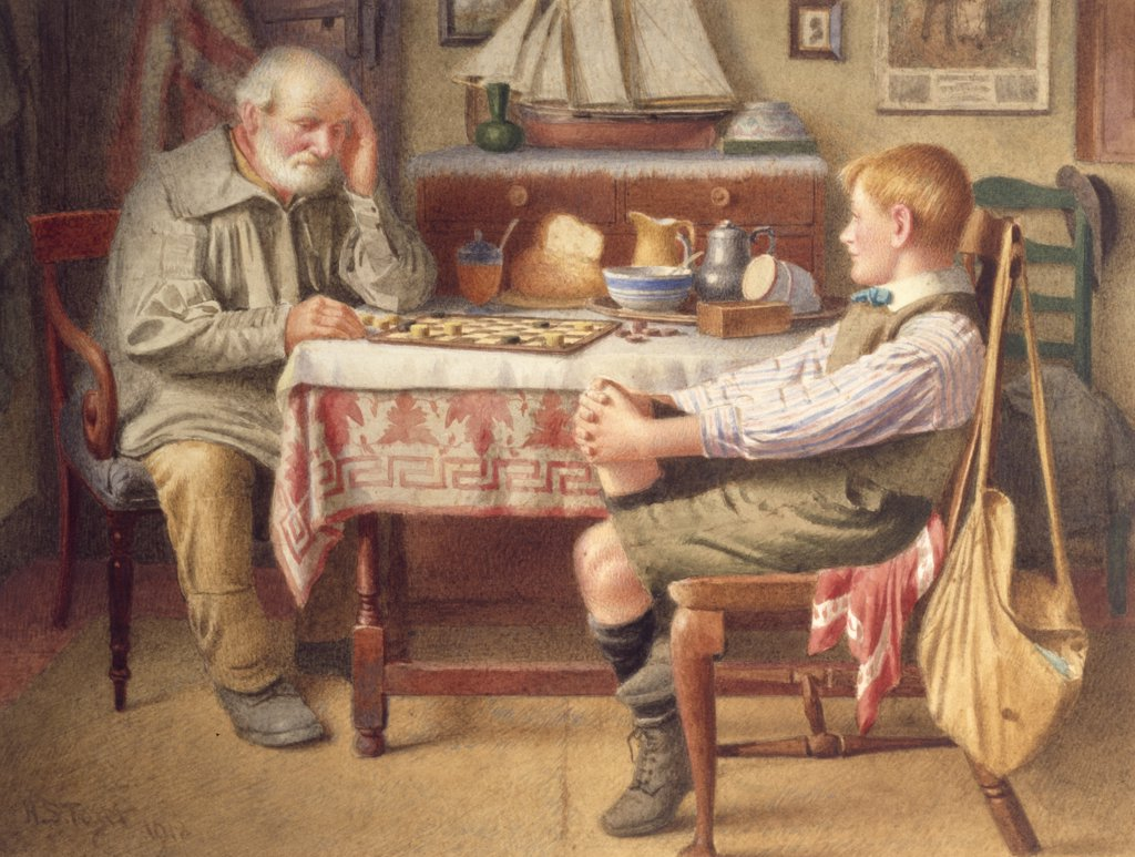 Stock Photo: 866-3895 The Game of Draughts, by H. Spernon Tozer, 1918, pencil and watercolor, (1870-1940), England, London, Christie's Images