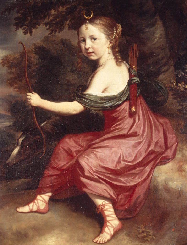 Portrait of Young Girl as Diana, by Jan Mytens, (1614-1670), England, London, Christie's Images : Stock Photo