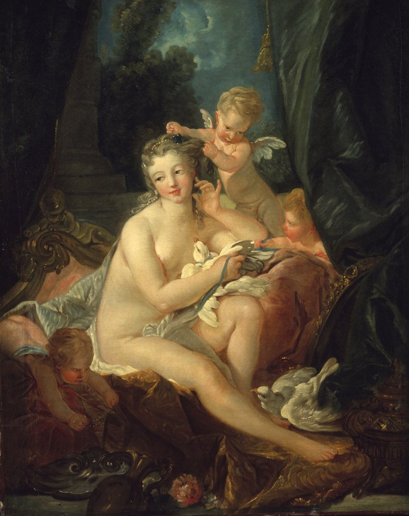 The Toilette of Venus, by follower of Francois Boucher, oil on canvas : Stock Photo