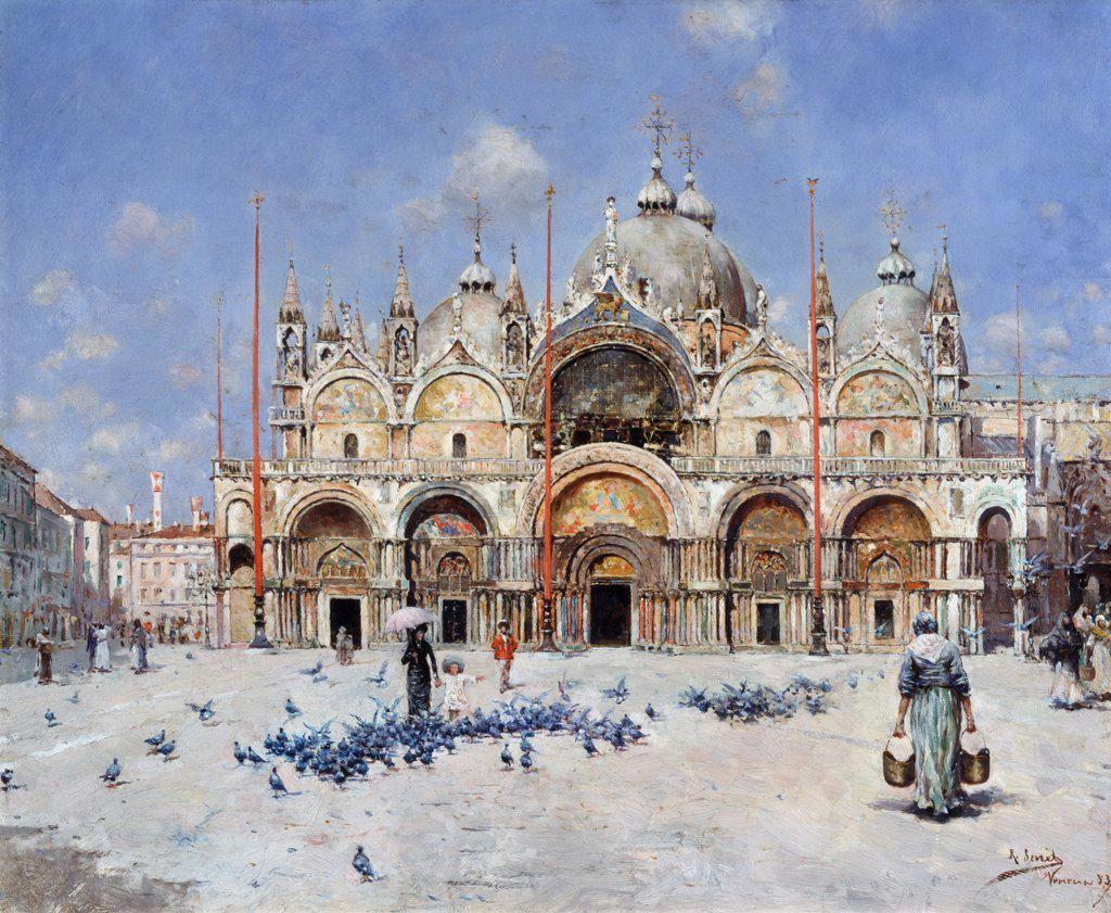 San Marco, Venice Rafael Senet (1856-1926 Spanish) Christie's, London  : Stock Photo