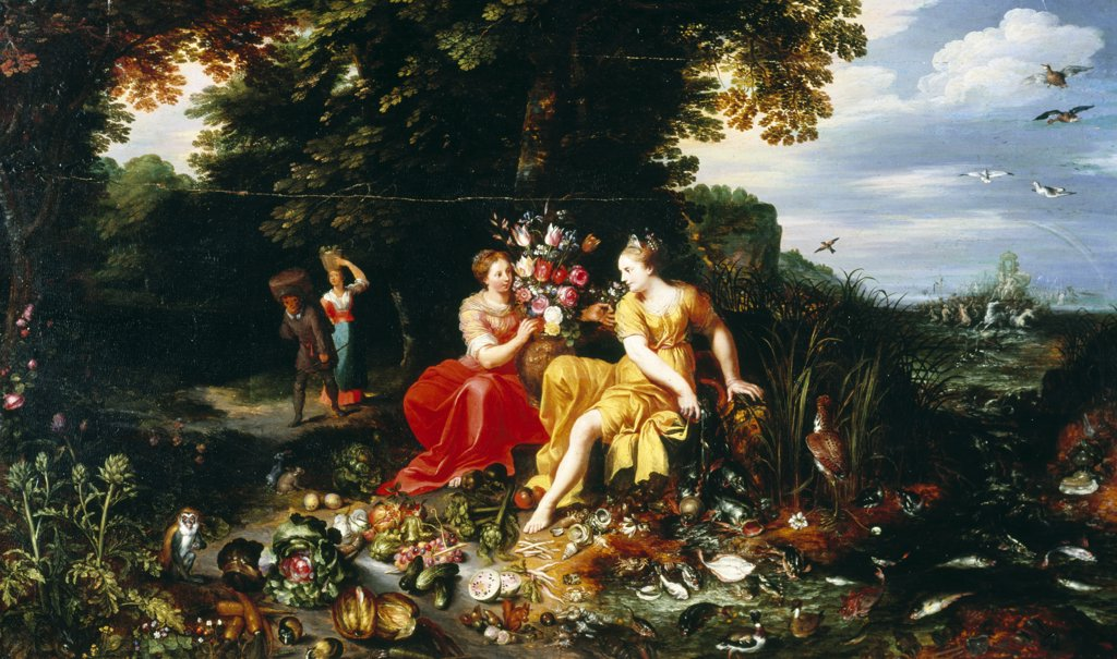 Stock Photo: 866-3971 Element of Earth and Water Personified on Seashore With Triumph of Amphitrite Beyond, by Jan Bruegel the Younger, (1601-1678), England, London, Christie's Images