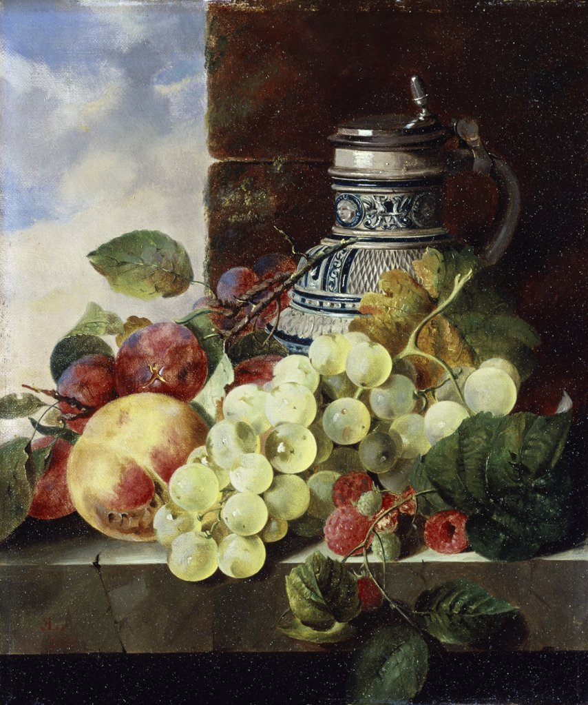 A Stein, Grapes, Raspberries and Plums on a Stone Ledge