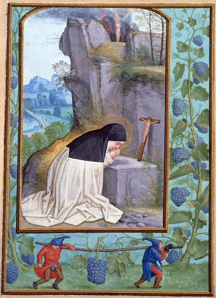 Stock Photo: 866-4010 Saint Odilia, from Book of Hours of Albrecht of Brandenburg, illuminated manuscript by Simon Bening, (1483-1561), England, London, Christie's Images
