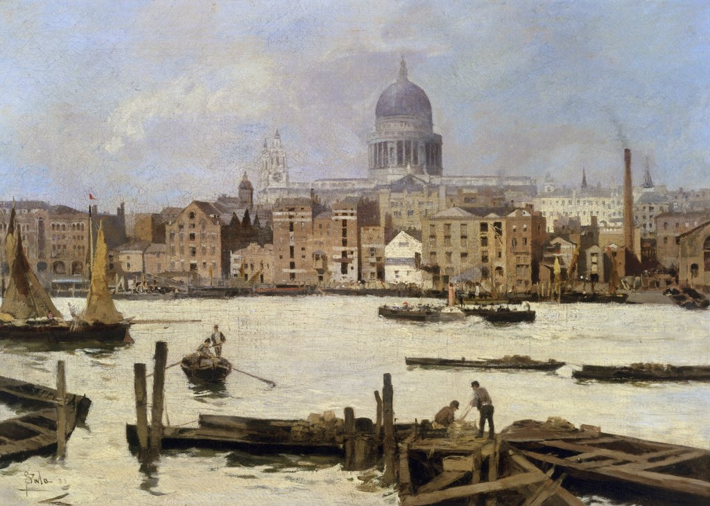 Stock Photo: 866-4019 A View of St. Paul's from the Thames