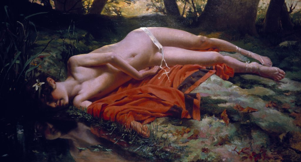 Narcissus, by B. Conda de Satriano, oil on canvas, England, London, Christie's Images : Stock Photo