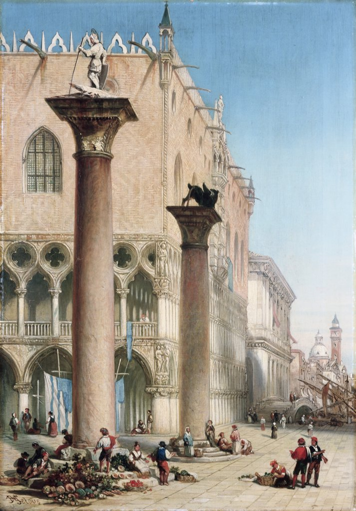 Stock Photo: 866-4122 Flower Market In The Piazetta San Marco By The Column Of St. Theodore, Venice, A
