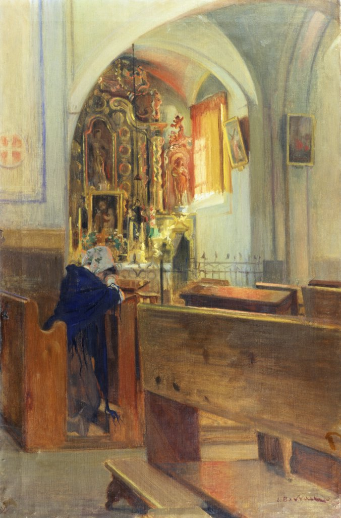 Stock Photo: 866-4151 At Prayer Laureano Barrau Bunol(1863-1950 Spanish) Oil on canvas Christie's Images, London, England
