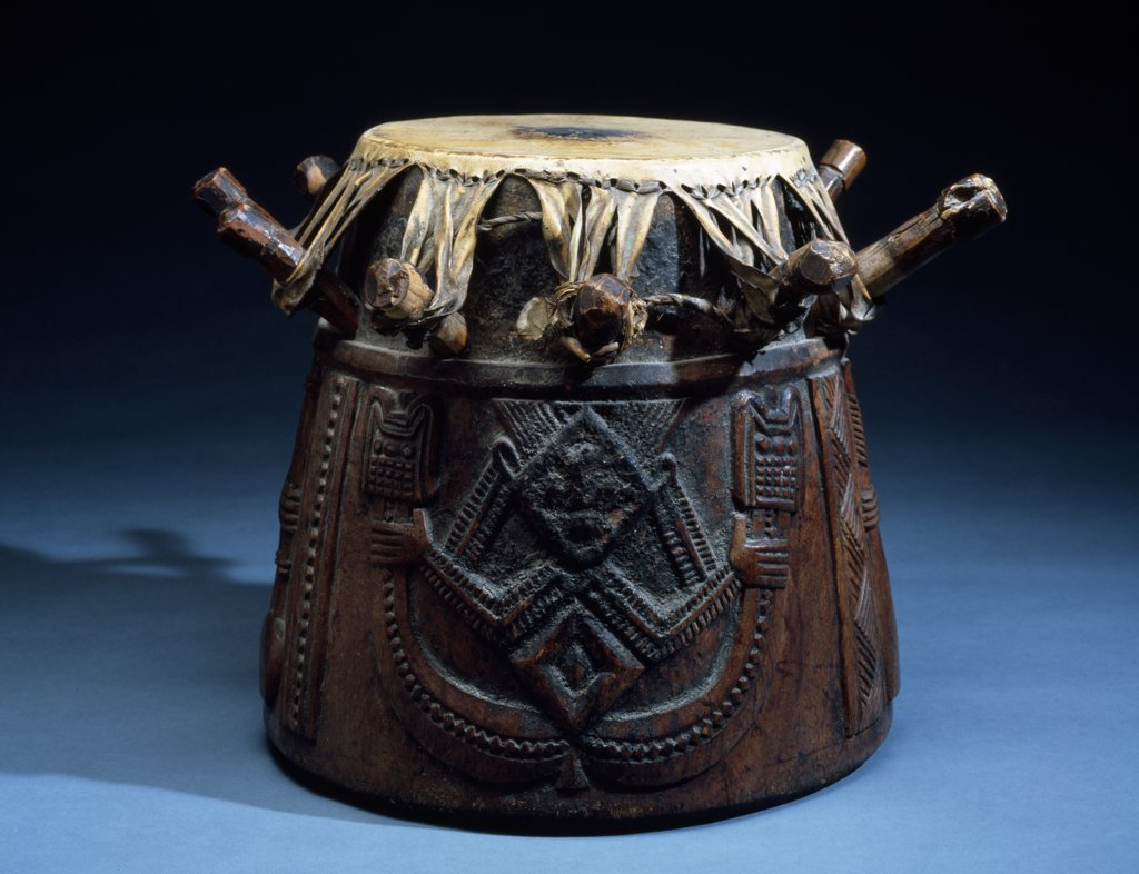 Yoruba Drum for Ifa Ijebu Area, from A Ijebu-Igbo, England, London, Christie's Images, Primitive Art : Stock Photo