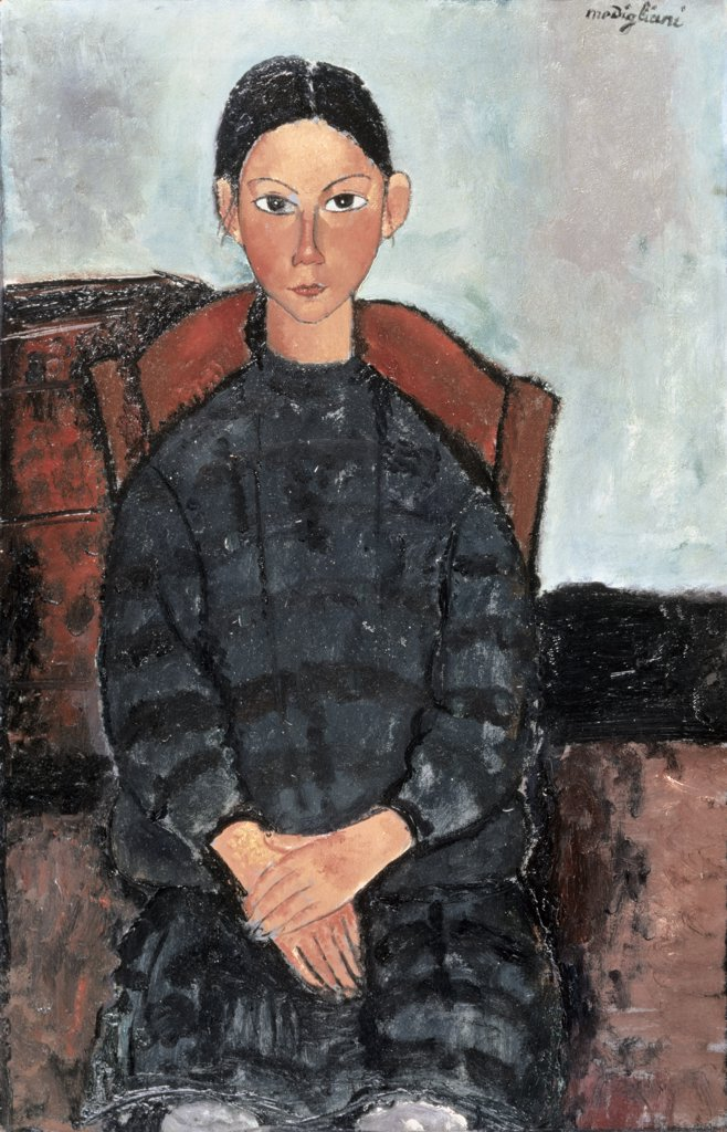 Stock Photo: 866-4289 Fillette Au Table Noir Amedeo Modigliani (1884-1920 Italian) Oil On Canvas Christie's Images, London, England