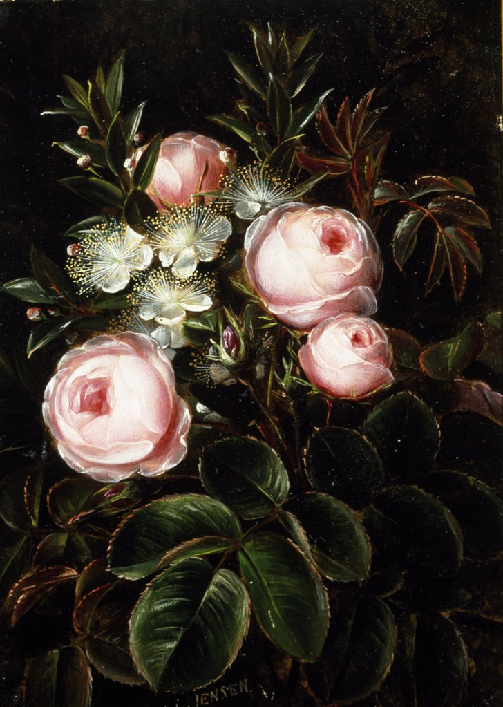 Stock Photo: 866-4317 Roses and Holly Hocks by Johan Laurentz Jensen, oil on wood panel, (1800-1856), UK, England, London, Christie's Images