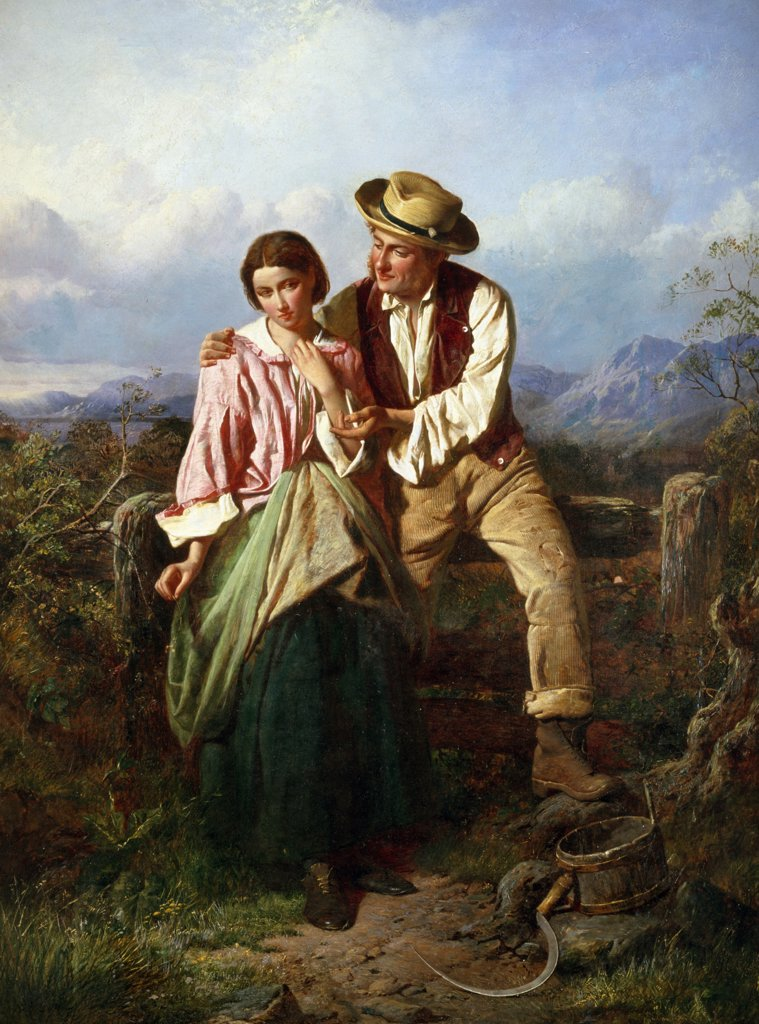 Rustic Courtship by William Henry Midwood, painting, (1867-1875), UK, England, London, Christie's : Stock Photo