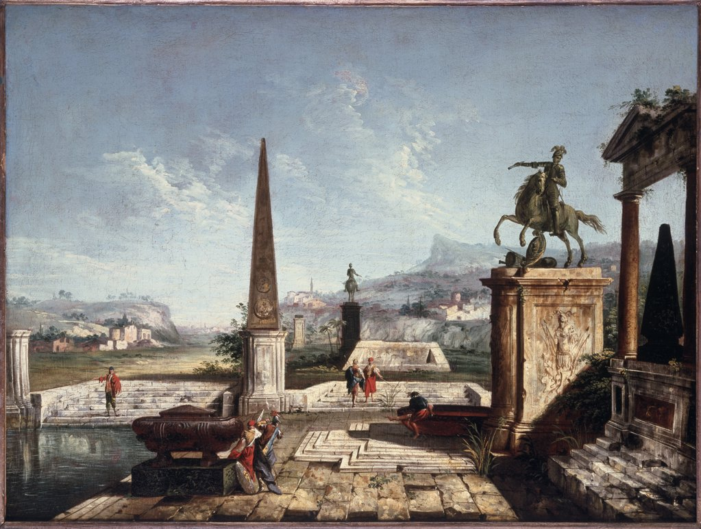 Stock Photo: 866-4328 Capriccio Of Classical Monuments And An Obelisk, A 