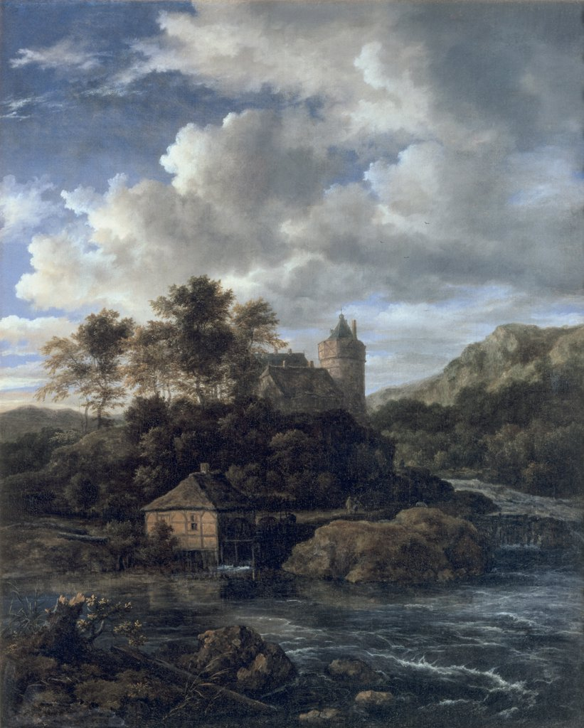 A Mountainous Landscape With A Castle By A Torrent And A Mill Pond Jacob van Ruisdael (1628-1682 Dutch) Oil On Canvas Christie's Images, London, England : Stock Photo