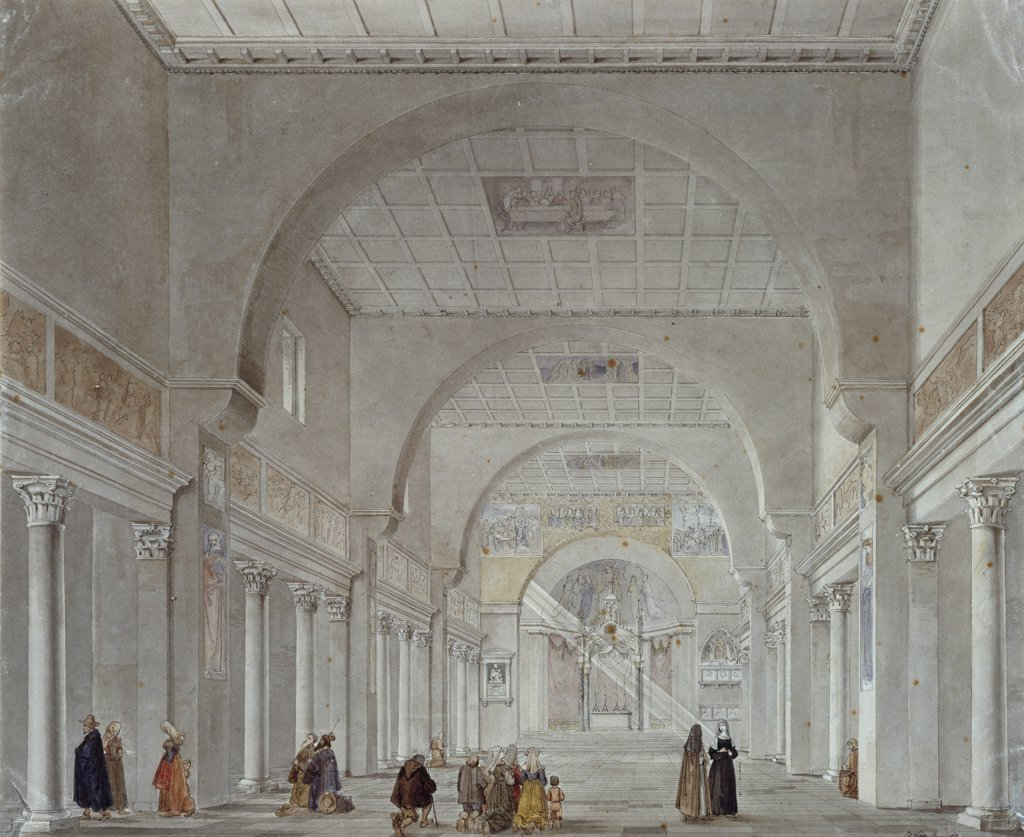 Stock Photo: 866-4359 Pilgrims In The Nave Of Santa Prassede, Rome
