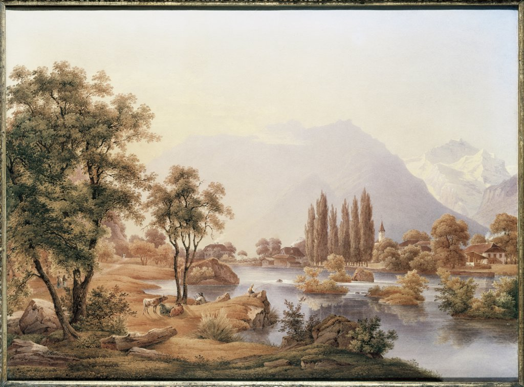 Stock Photo: 866-4365 A View Of The River Aare & Interlaken