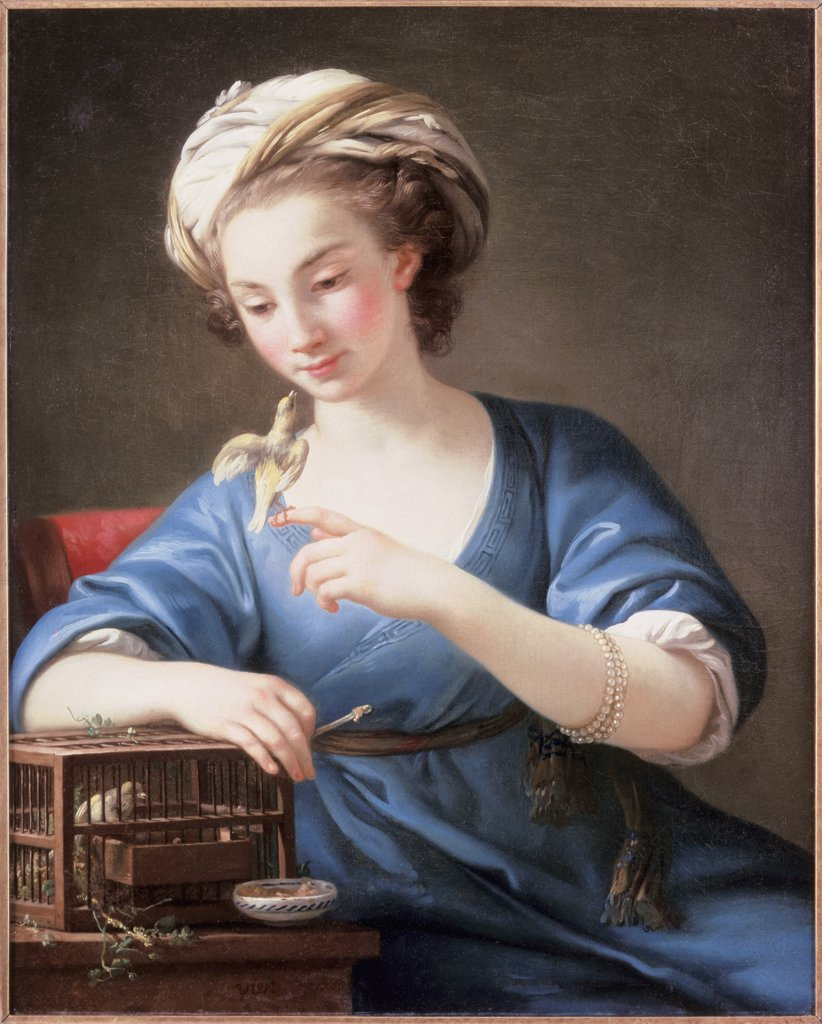 Stock Photo: 866-4372 A Young Woman In Turkish Costume Playing With A Cage Bird