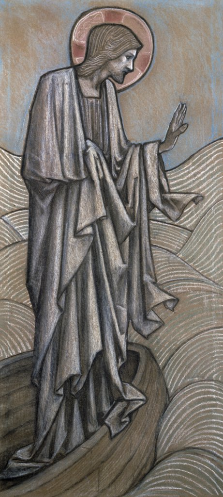 Christ Stilling Waves, Design for Stained Glass at Brighouse Yorkshire by Edward Burne-Jones, illustration, (1833-1898) : Stock Photo