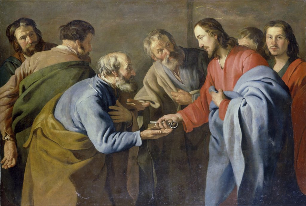 Stock Photo: 866-4679 Christ Handing Keys to Saint Peter 