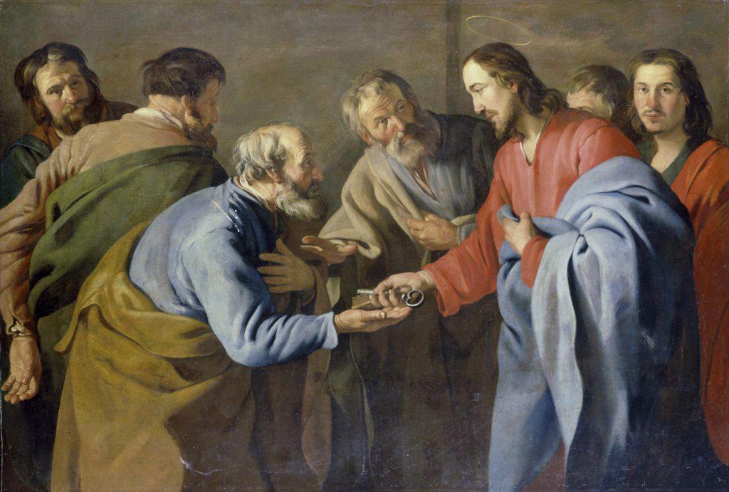 Stock Photo: 866-4679 Christ Handing Keys to Saint Peter  Matthias Stom (Circle of) (17th C. Dutch) Oil on canvas Christie's Images, London, England