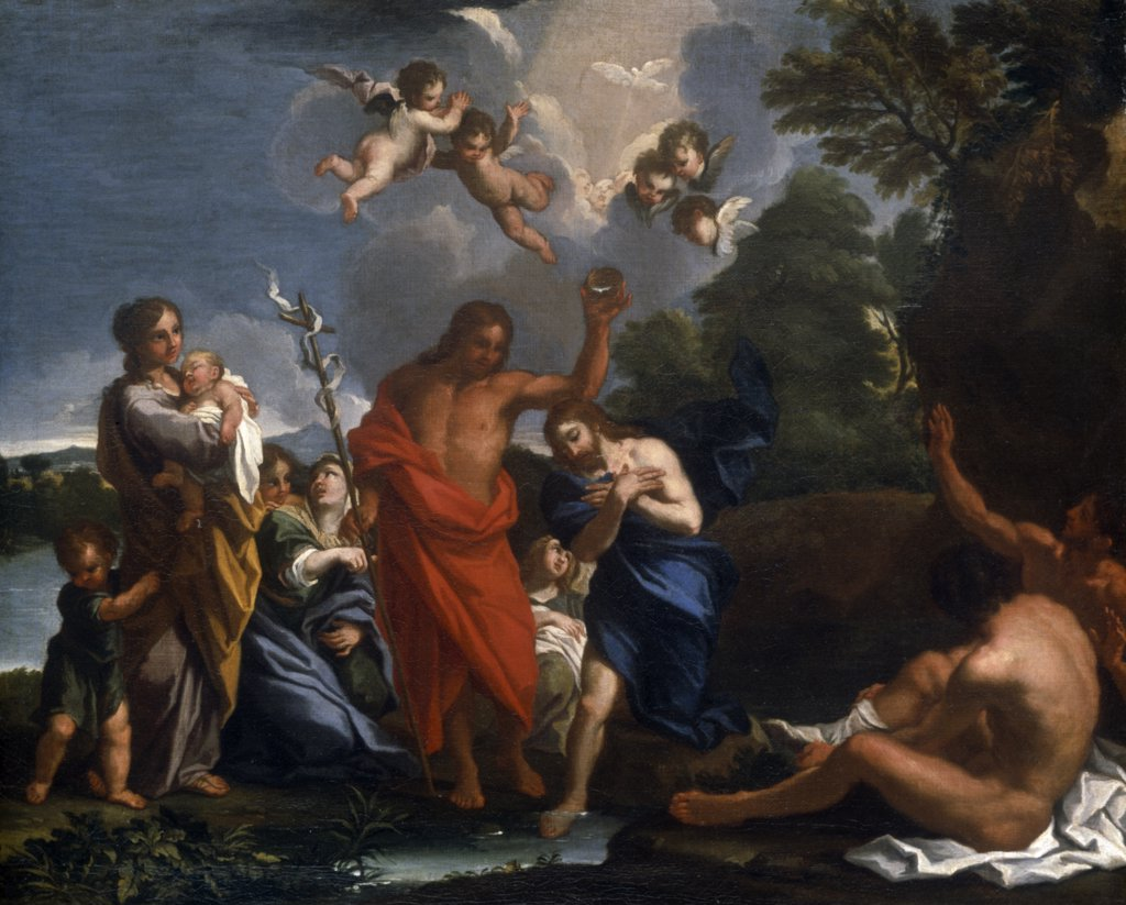 Baptism of Christ by Michele Rocca, painting, (ca.1666-1751), UK, England, London, Christie's Images : Stock Photo