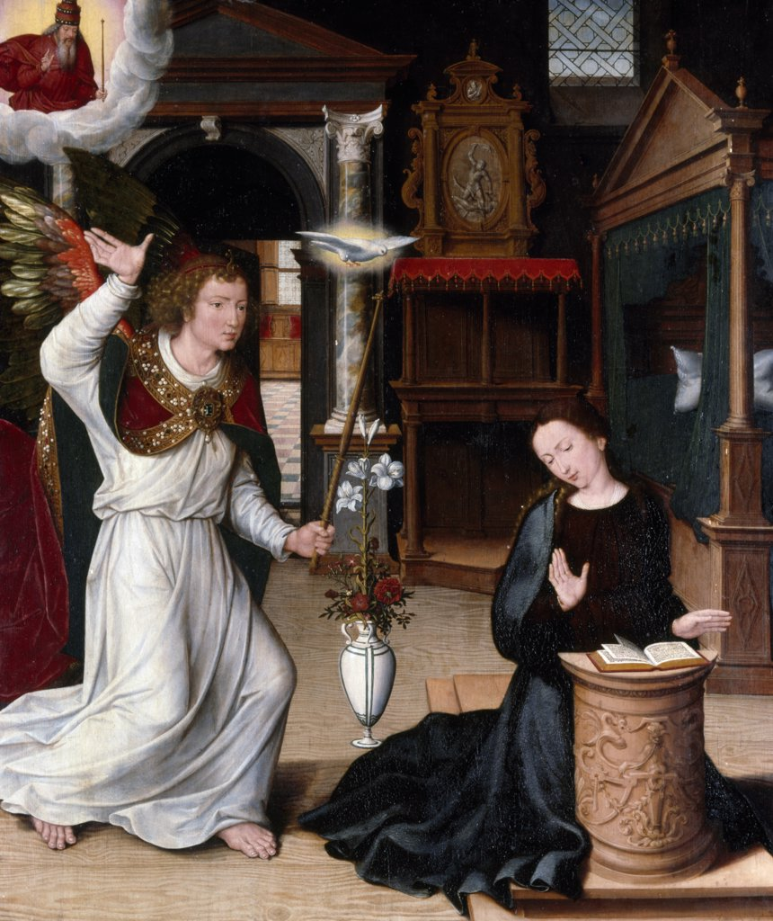 Stock Photo: 866-4727 Annunciation by Circle of Pieter Pourbus, oil on panel