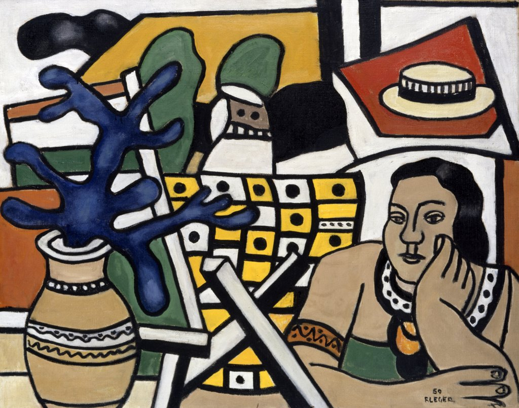 Stock Photo: 866-4734 A Dark-Haired Woman, A Blue Plant
