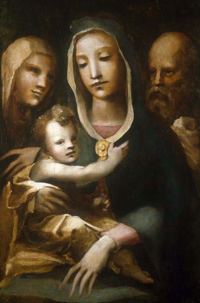 Stock Photo: 866-4783 Holy Family with Saint Anne by Domenico Beccafumi, c. 1540's, painting, (1486-1551)