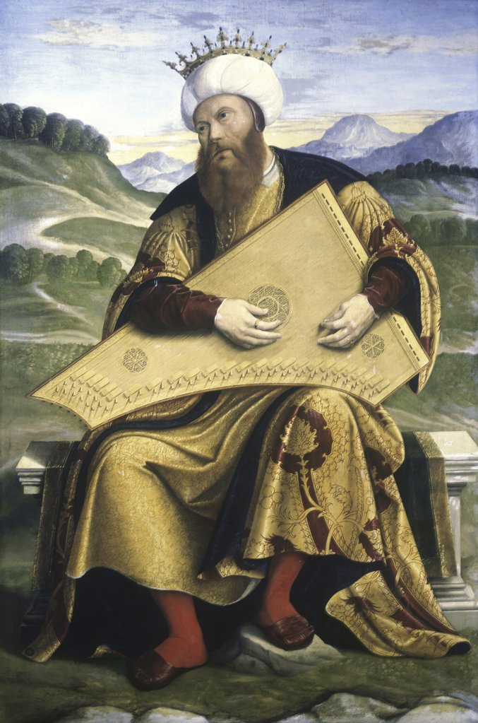Stock Photo: 866-4785 King David Playing a Psaltery