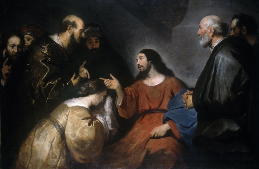 Christ and Woman Taken in Adultery by Jacob Adriaensz Backer, oil on canvas, (1608-1651) : Stock Photo