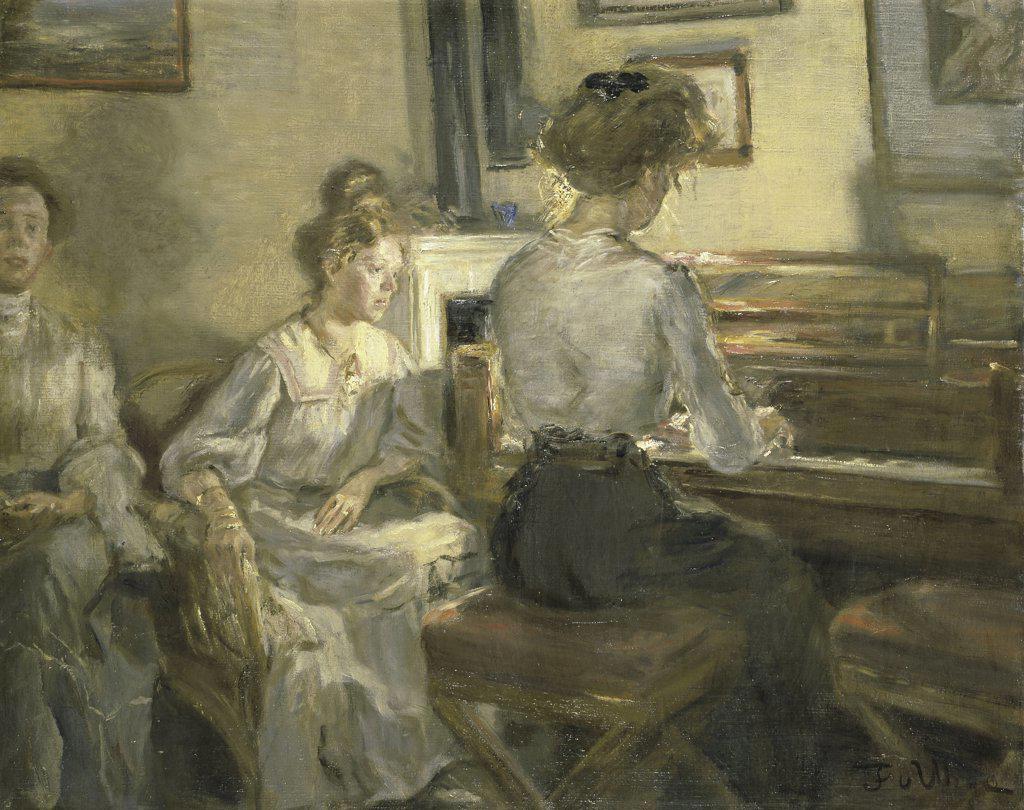 Night Music  (Abendmusik)  1907 Fritz Karl Hermann von Uhde (1848-1911/German)  Oil on Canvas Christie's Images  : Stock Photo