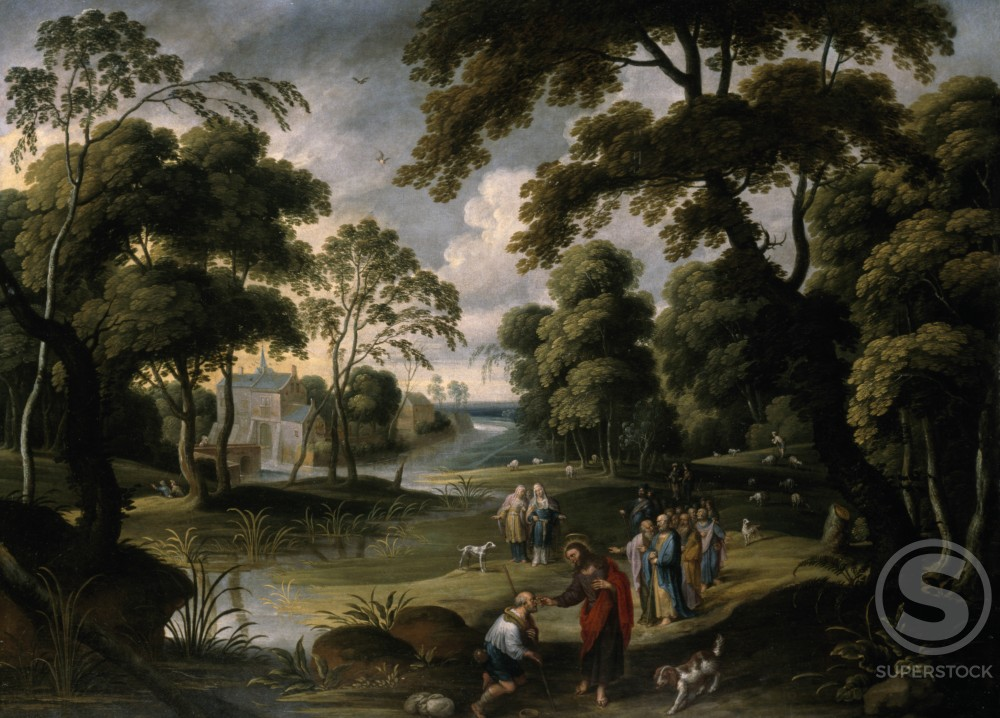 Wooded River Landscape with Christ Healing Blind Man by Hans Jordaens III, painting, (1595-1643), UK, England, London, Christie's Images : Stock Photo