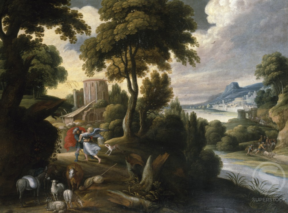 Stock Photo: 866-4880 Wooded River Landscape with Jacob Wrestling with the Angel Hans Jordaens III (1595-1643/Flemish) 