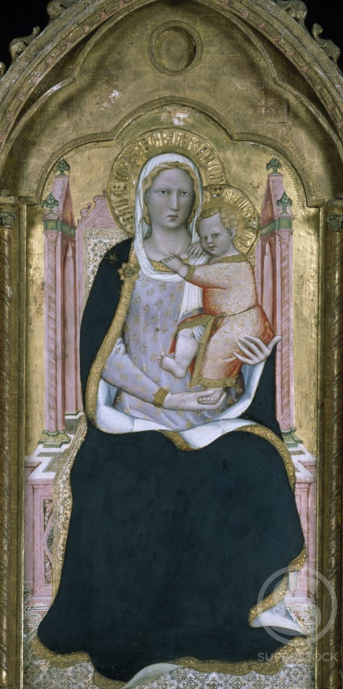 Stock Photo: 866-4887 Madonna and Child Enthroned by Spinello Aretino, tempera and gold leaf on panel, (c. 1350-1411), UK, England, London, Christie's Images