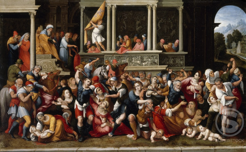 Stock Photo: 866-4893 Massacre of Innocents by Manner of Lodovico Mazzolino, oil on copper, (ca. 1480-1530), UK, England, London, Christie's Images
