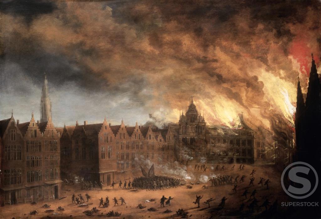 The Burning of Antwerp City Hall  Daniel van Heil (c.1604-1662/Flemish)  Christie's Images   : Stock Photo