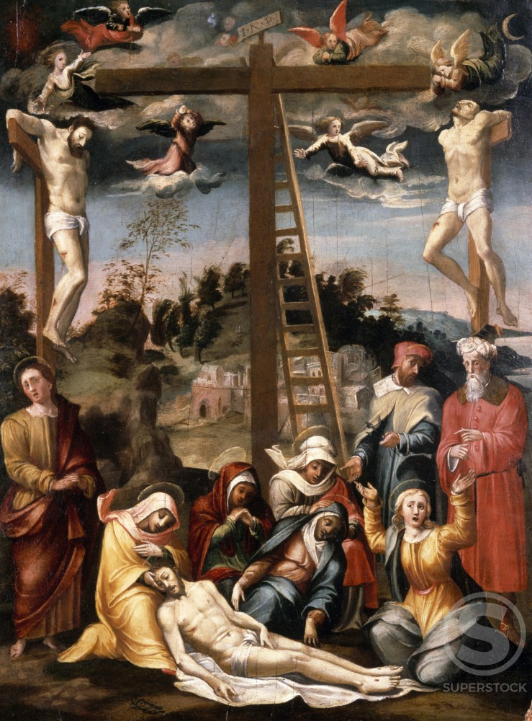 Lamentation by Follower of Francesco Prato da Caravaggio, (16th C.), UK, England, London, Christie's Images : Stock Photo