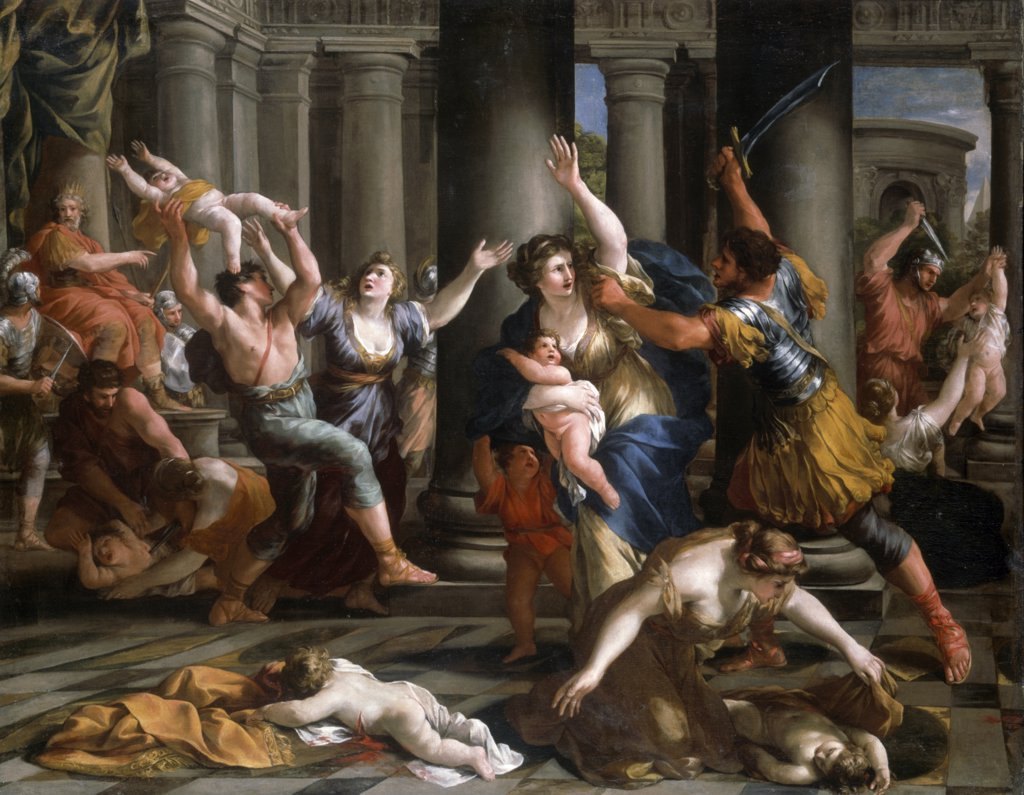 Stock Photo: 866-4912 Massacre of Innocents by Giovanni Francesco Romanelli, painting, (1610-1662)