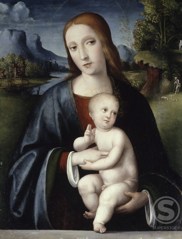 Stock Photo: 866-4914 Madonna and Child, a Shepherd in an Extensive 