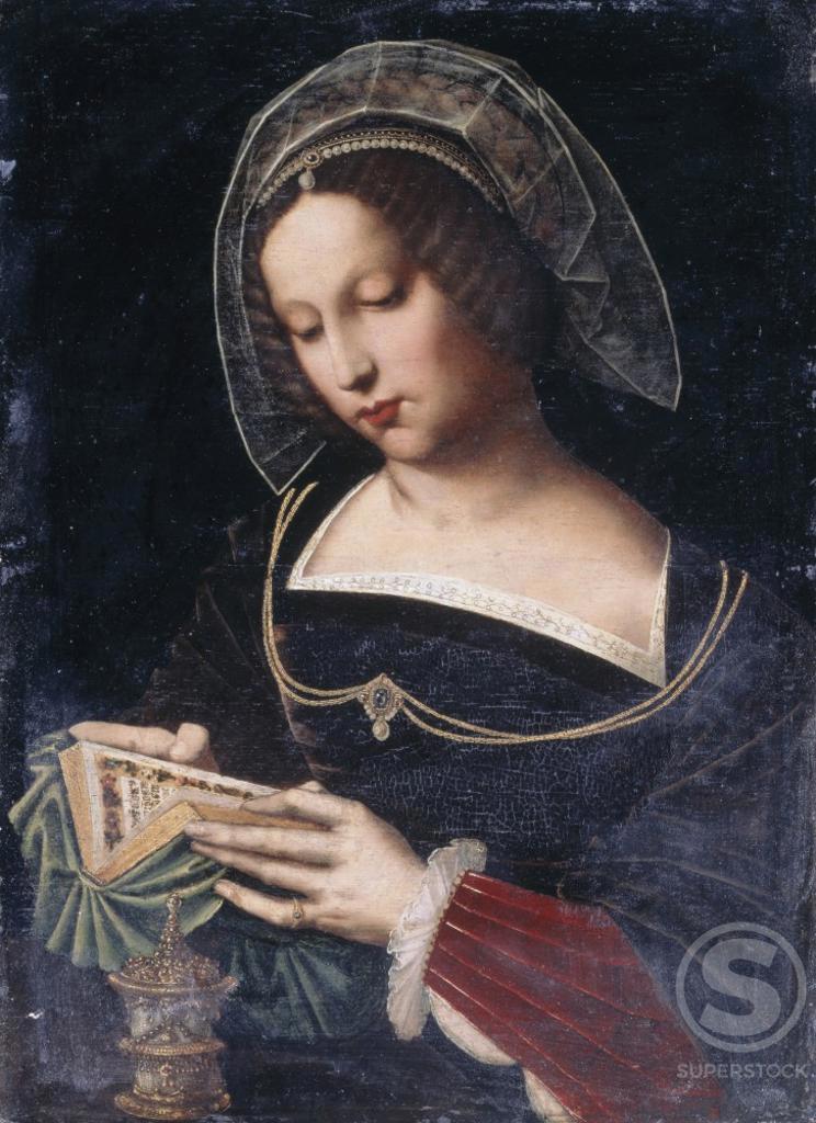 Stock Photo: 866-4923 Saint Mary Magdalene Reading  Ambrosius Benson (ca. 1495-1550 Netherlandish)  Oil on canvas  Christie's Images