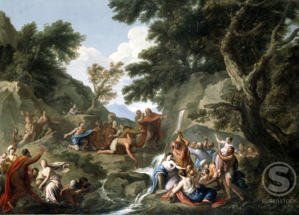 Stock Photo: 866-4928 Moses Striking the Rock 