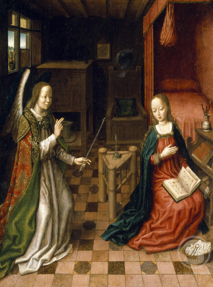 Stock Photo: 866-4937 Annunciation by Circle of Hans Memling, painting, (15th C.), UK, England, London, Christie's Images
