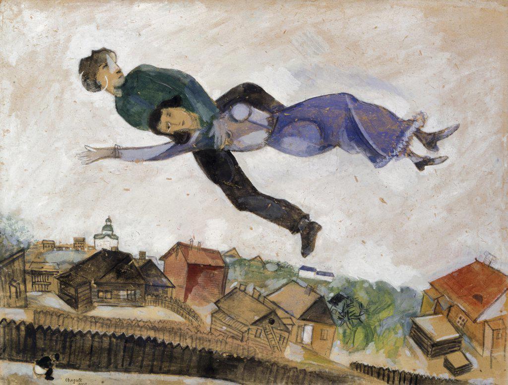 Above The City Au-Dessus de la Ville 1914-1924 Marc Chagall (1887-1985 Russian) Watercolor & Gouache Christie's Images, London, England : Stock Photo